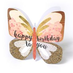 """Beautiful butterfly birthday card, with caption: """"Happy birthday to you"""""""