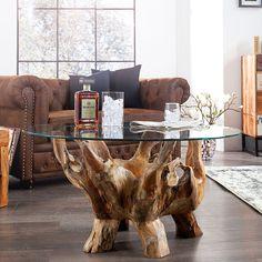 Couchtisch AMAZONA rund 90 cm Teak Wurzelholz mit Glasplatte Holztisch Tisch | eBay