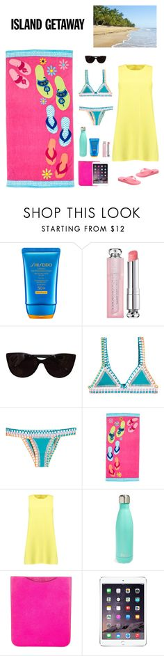 """""""Island Getaway"""" by yuenchewwan ❤ liked on Polyvore featuring Shiseido, Christian Dior, Tiffany & Co., kiini, Boohoo, Havaianas, S'well and Mulberry"""