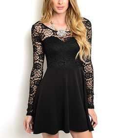 Look what I found on #zulily! Black Lace Skater Dress by 24|7 Frenzy #zulilyfinds