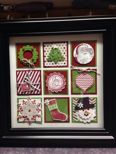 """Christmas Collage. 2 1/4 squares mounted in 8.5"""" square frame from Walmart"""