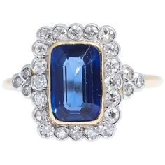 Burma Emerald Cut Blue Sapphire Diamond Gold Ring