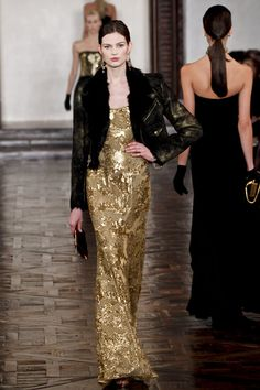 Fall 2012 Deep Decolletage Embroidered Evening Gown In Gold #NMFallTrends
