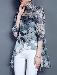 Blue Silk Vintage Asymmetric Blouse