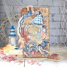"Absurd Theatre: Море и розовый! Или ""Я лежу на пляжу"")) Nautical Cards, Nautical Theme, Travel Album, Beach Cards, Beautiful Handmade Cards, Card Maker, Christmas Printables, Card Tags, Mixed Media Art"