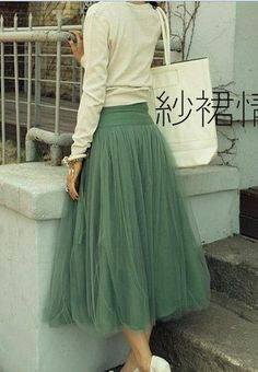 Jupon en tulle : I Love This Skirt Which is Actually a 'Retro Simple Style Silk Long Dress De… Look Fashion, Diy Fashion, Ideias Fashion, Skirt Fashion, Fashion Shoes, Diy Clothing, Sewing Clothes, Boutique Clothing, Mode Style