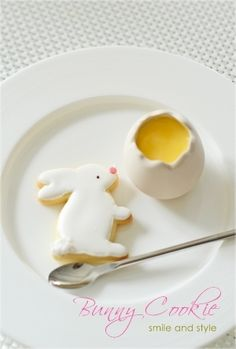 white bunny cookie for easter