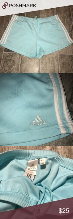 Sky Blue Adidas Shorts Womens Size XL My favorite thing about these shorts is the COLOR. The pastel blue isn't that common. They are still feminine yet sporty. The shorts are used but barely. Size XL. adidas Shorts