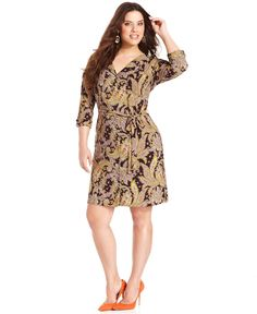 Jones New York Collection Plus Size Dress, Three-Quarter-Sleeve Printed Shirtdress - Plus Size Dresses - Plus Sizes - Macy's