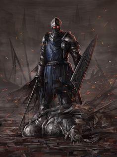 Art of Dark Souls Fantasy Warrior, Fantasy Art, Fantasy Demon, Arte Dark Souls, Dark Souls 3 Knight, Soul Saga, Arte Cyberpunk, Knight Art, Medieval Fantasy
