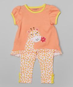Look at this Buster Brown Orange Leopard Giraffe Tunic & Leggings - Infant on #zulily today!