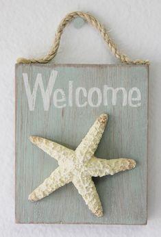 Starfish Welcome Sign, $5.99 (http://www.caseashells.com/starfish-welcome-sign/)  #californiaseashellcompany