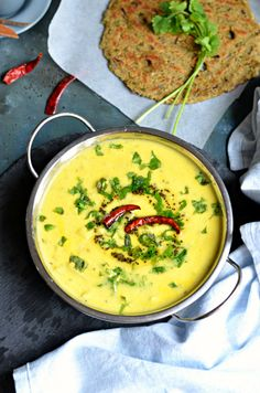Dahi aloo- Chunky potato and yogurt soup. No onion garlic recipe for a simple and light meal, perfect during Navratri time. Gluten free + low calorie healthy dish