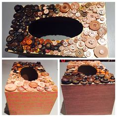 Gold, brown, natural button tissue box with paper on sides