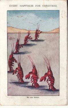 Lobster Parade  1905 Christmas postcard