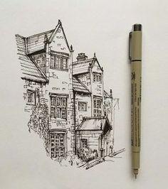"3,860 Likes, 18 Comments - Phoebe Atkey (@phoebeatkey) on Instagram: ""#art #drawing #pen #sketch #illustration #architecture #house"""