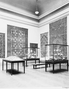 The Metropolitan Museum of Art, Wing D, Room 3; View including Islamic pottery and carpets, facing southeast. Photographed on April 13, 1921.