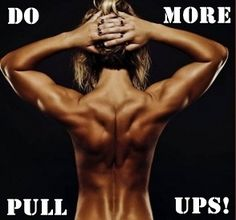 WOW:) Working on my back looking like this! Do you want to be able to do a pull up? YOU CAN DO IT!!! The way to start building strength is doing lat pulls, lots of them. Or, if your gym has an assisted pull up machine, you can use that. Start doing 3-4 sets of 20 lat pulls at a weight that you can do 20 good reps, do 2 times a week! Every week add a little weight. Then jump on that pull up bar and do it! Start with one rep, you can even swing to start off with, then go for more and more!