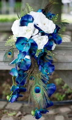 Cascading Blue and White Peacock and Orchid Bouquet Idea: simple and small