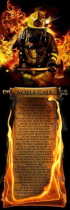 Firefighter's Noble Call (Poem) Print & Firefighter Print - No Greater Love Art  - 2