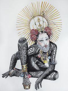 The International Art Materials Association: Bearded Beauty by Natalia Jhete #fashion #illustration #drawing