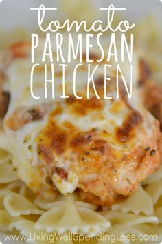 Love Chicken Parmesan?  This oh-so-easy Tomato Parmesan Chicken gives you all of the flavor with none of the effort. Not only does it whip up in just minutes, it can be frozen ahead for busy weeknights.  Better yet, you can choose between the oven or slow-cooker for even more flexibility.  Did I mention that it is DELICIOUS?  My family gave it rave reviews and yours will too! #freezercooking #easyrecipe #timesaver