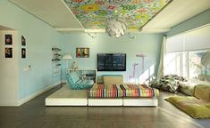 How fun/funky is this. The kitchen ceiling is the only place in my house I think something like this could work, except for maybe the hallway.