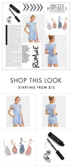 """""""ROMWE - Embroidered Flutter Sleeve Self Belt Romper"""" by dz-eminaa ❤ liked on Polyvore featuring Bobbi Brown Cosmetics"""