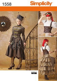 pickups, and boot covers. Simplicity sewing pattern by Theresa Laquey one more time I'm not a goth or a steampunker  but the jacket and ruffeled skirt are great but the blouse is a cheat because it dosent come to your waist