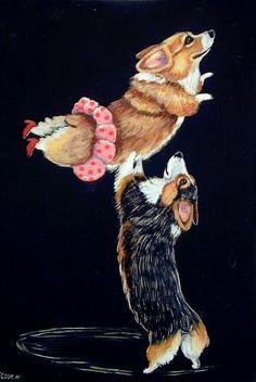 [Pembroke Welsh Corgi Humor Giclee Fine Art Print size 8x10 on Somerset Velvet Paper. $19.94, via Etsy.]