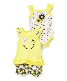 Take a look at this Yellow Happy Flower Ruffle Tank Set today!
