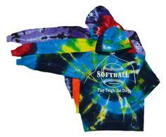 "Softball Tie Dye Sweatshirt ""Play Tough, Get Dirty"" Logo"