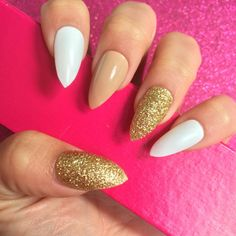 Luxury Hand Painted False Nails. Stiletto Nude White & Gold