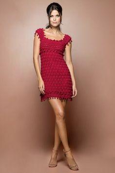 Vestido Crochet St. Tropez Morango - Vanessa Monto - vanessamontoro