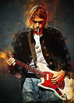 Kurt Cobain Painting, Kurt Cobain Art, Nirvana Art, Nirvana Songs, Arte Grunge, Totenkopf Tattoos, Skateboard Design, Rock Posters, Print Artist