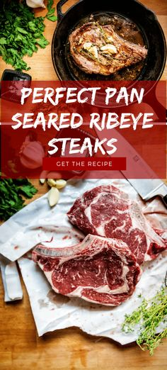 Perfect Pan Seared Ribeye Steaks The trick to perfect restaurant quality steaks - cast iron. Check out this Perfect Pan-Seared Ribeye Steak recipe and some pro-tips on getting that perfect steak, every time. Cube Steak Recipes, Pellet Grill Recipes, Grilling Recipes, Cooking Recipes, Skillet Recipes, Cooking Gadgets, Cooking Tools, Sauce Recipes, Meat Recipes
