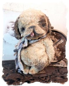 Puppy Dog Doll - bear - handmade artist by wendy meagher Antique-Style-New-Design-CHUBBY-PuPPY-DOG-vintage-FaT-PuP-Whendi-Bears