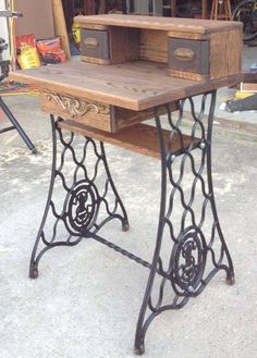 A small desk made from an old treadle sewing machine.