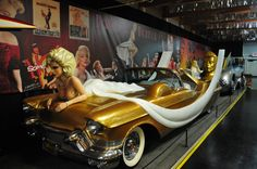 Gold Cadillac tribute to Marilyn Monroe on display at the Volo Auto Museum, Volo, IL. www.volocars.com