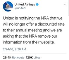 One down, several more to go. Words won't defeat the NRA and the rest of the gun lobby, but taking away their corporate funds will. These are the funds they use to buy elected officials.