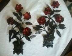 Vintage Pair Red Tole Wall Sconce Flowers Fabulous Patina Hong Kong Enesco