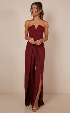 prom jumpsuit Just Like Fire Jumpsuit In Wine Prom Jumpsuit, Wedding Jumpsuit, Jumpsuit Dressy, Jumpsuit Outfit, Burgundy Jumpsuit, Strapless Jumpsuit, White Jumpsuit Formal, Cocktail Jumpsuit, Summer Wedding Outfits