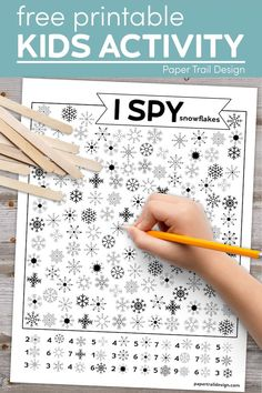 Print this snowflake themed I spy page for an indoor activity to keep kids entertained, busy, and learning on a rainy day. #papertraildesign #snowflake #ispy #snowflakeispy #ispysnowflake #kids Christmas Activities For Kids, Printable Activities For Kids, Preschool Learning Activities, Winter Crafts For Kids, Indoor Activities For Kids, Easy Crafts For Kids, Classroom Activities, Free Printables, Spy Games For Kids