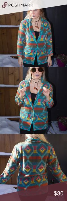 Vintage Southwestern Colorful Woven Blazer Jacket Beautiful #woven #vintage #southwestern #jacket #blazer with bronze patterned buttons and faux front pockets. In mint condition, even clad with shoulder pads 😏 marked as size petite XS but could fit anywhere between petite XS-M depending on desired fit. Measurements coming ! Perfect piece to add to your boho southwest wardrobe ✨✨✨ Vintage Jackets & Coats Blazers