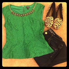 The Limited Lace Peplum Top Size S. This beautiful green peplum top with lave overlay is perfect! Can easily dress up or down. Excellent used condition. The Limited Tops Blouses