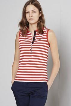 Lacoste Sleeveless Stripe Stretch Pique Polo : Short Sleeve