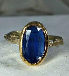 Kyanite Gemstone Ring, Solid Gold and kyanite twig ring,  yellow gold Twig Ring, Recycled 22kt and 14 kt gold ring
