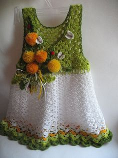 Summer Dress  in Green and White with Flowers by ninellfux on Etsy