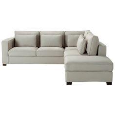 Canapé d'angle 5 places en coton gris clair