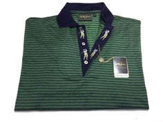 Bobby Jones Collection S Short Sleeve Golf Polo Shirt Green Navy Blue NEW NWT #BobbyJones #PoloRugby